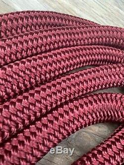 1 1/8 x 32 ft. Double BraidYacht Braid Polyester Rope. Burgundy. Made in the USA