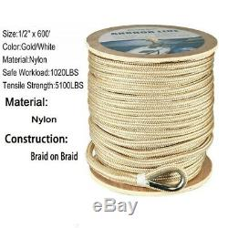 1/2 in 600 ft Double Braided Nylon Rigging Rope Anchor Line & Thimble White/Gold