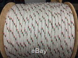 1/2 polyester double braid rope 600' White green red
