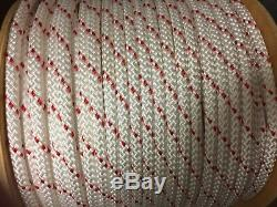 1/2 polyester static double braid climbing rope 600' white red or white green