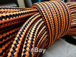 1/2 x 150 ft Pre-Cut Double Braid-Yacht Braid polyester rope hank. Black/Orange