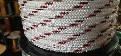1/2 x 245 ft. Double Braid-Yacht Braid Polyester Rope Spool. White/Black/Red