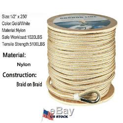 1/2 x 250' Double Braided Nylon Rope Anchor Line w Thimble White/Gold Dock Line
