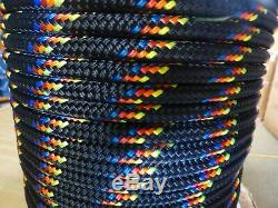 1/2 x 300 ft. Double BraidYacht Braid polyester Rope. Black with tracers