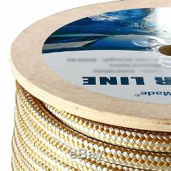 1/2 x 600' Double Braided Nylon Rope Anchor Line w Thimble White/Gold Dock Line
