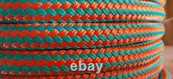 1/2 x 600 ft. Double Braid-Yacht Braid Polyester Rope Spool. Turquoise/ Orange