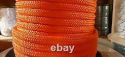 1/2 x 600 ft. Premium Double Braid-Yacht Braid Rope. Bright Orange. Made in USA