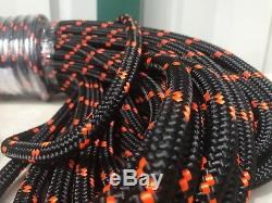 1/2x200 Feet Double Braid Polyester Arborist Rope Black/orange