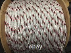 1/4 Spectra / polyester double braid rope 80 feet Red//white