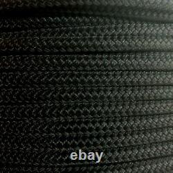 1/4 x 1000 ft Double Braid-Yacht Braid polyester rope Spool. Black