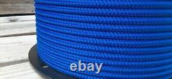 1/4 x 1000 ft. Double Braid-Yacht Braid polyester rope spool. Marine Blue