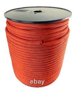 10mm Red Double Braid on Braid Polyester Rope Marine Cruising x 200 Metre Reel