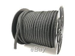 12mm Black Double Braid On Braid Polyester Rope, Cruising Yacht Sail Line x 100m