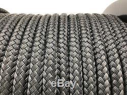 12mm Black Double Braid Polyester Rope x 100 Metre Reel, Braid on Braid Marine