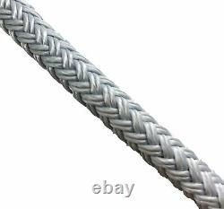 12mm Grey Quality Double Braid on Braid Polyester Mooring Yacht Marine Rope