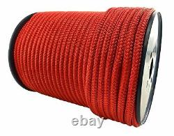 12mm Red Quality Double Braid on Braid Polyester Mooring Yacht Marine Rope