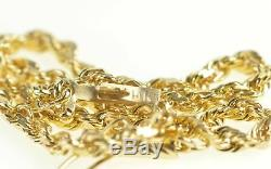 14K 2.0mm Classic Rolling Twist Rope Link Chain Bracelet 7.5 Yellow Gold 97