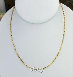 14K Double Braid Rope 15 3/4 Chain AD Necklace Solid Rope Nicely Weighted Chain