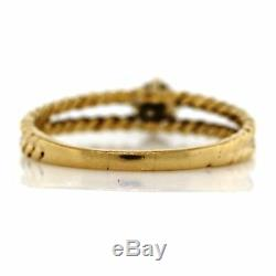 14K Gold. 01ct Diamond Rope Cable Twist Double Split Shank 3.8mm Band Ring 7 VTG