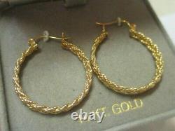 14K Yellow Gold Double Braided Rope Chain Hoop Earrings 1