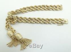 14K Yellow Gold Heavy 9.8mm Double Rope Tassle Dangle Bracelet 7.5 D4743