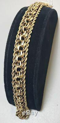 14kt Yellow Gold 1.66 Oz 8 Thick Double Link/rope Twist Border Bracelet