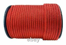 14mm Red Double Braid Polyester Rope x 100 Metres, Quality Docklines