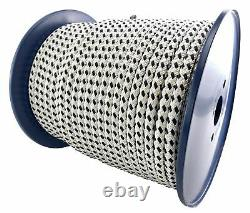 14mm White and Black Double Braid Polyester Rope x 35 Metres, Quality Docklines