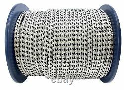14mm White and Black Double Braid Polyester Rope x 55 Metres, Quality Docklines