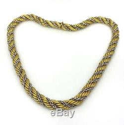 18k Italian Double Twist Rope Chain -White and Yellow Gold -8.5mm Wide-HM2064X