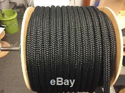 3/4 Nylon double braid rope 300 feet solid black