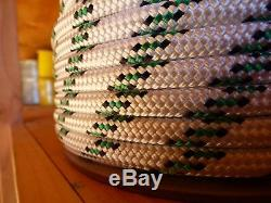3/8 x 300 ft. Double Braid-Yacht Braid Polyester Rope. White/Navy/Green. US Made