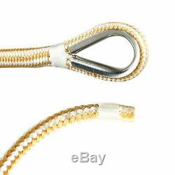 3/8 x 600' Double Braided Nylon Rope Anchor Line w Thimble White/Gold Dock Line