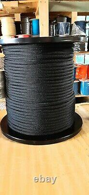 3/8 x 600 ft. Double Braid-Yacht Braid Polyester Rope. Black. Made in USA
