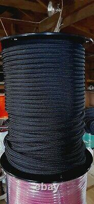 3/8 x 600 ft. Double BraidYacht Braid Polyester Rope Spool. Black. Made in USA
