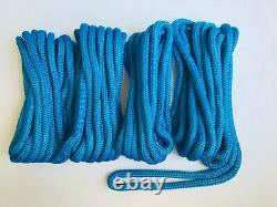 (4) 5/8 x 30 blue dock line double braid nylon boat rope made in the usa