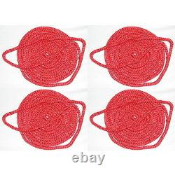 4 Pack of 1/2 Inch x 25 Ft Red Double Braid Nylon Mooring and Docking Lines