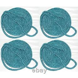 4 Pack of 1/2 Inch x 25 Ft Teal Double Braid Nylon Mooring and Docking Lines