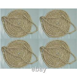 4 Pack of 3/4 x 25 Ft Gold & White Double Braid Nylon Mooring and Docking Lines