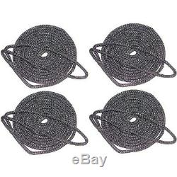 4 Pack of 5/8 Inch x 20 Ft Black Double Braid Nylon Mooring and Docking Lines