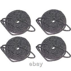 4 Pack of 5/8 Inch x 30 Ft Black Double Braid Nylon Mooring and Docking Lines