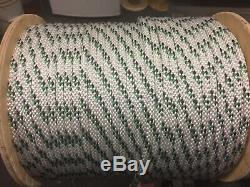 5/16 Spectra / polyester double braid rope 600' Green / white /black