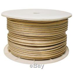 5/8 Inch x 600 Ft Gold and White Double Braid Nylon Rope Spool for Boats