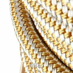 5/8 in x 200ft Double Braided Nylon Rope Anchor Dock Line w Thimble White/Gold