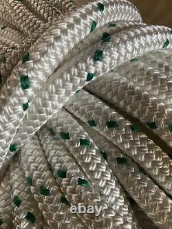 5/8 x 114 ft. Premium Double BraidYacht Braid Nylon Rope. White With Green