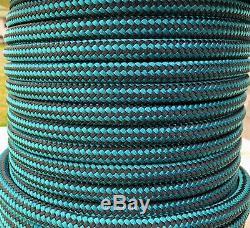 5/8 x 150 ft. Double BraidYacht Braid Nylon Rope. Black/Teal