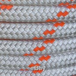 5/8 x 150 ft. Double BraidYacht Braid polyester Rope. White/ Bright Orange