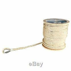 5/8 x 200' Double Braided Nylon Rope Anchor Line w Thimble White/Gold Dock Line
