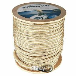 5/8 x600' Double Braid Nylon Rope Anchor Line with Stainless Thimble-White/Gold