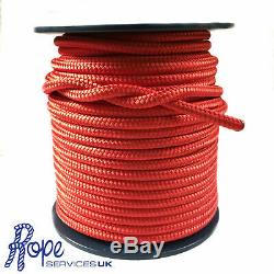 6mm Red Polyester x 200 Metre Reel, Braid on Braid Rope Double Braid Polyester